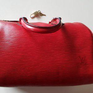 Louis Vuitton crimson Leather Speedy 30 bag